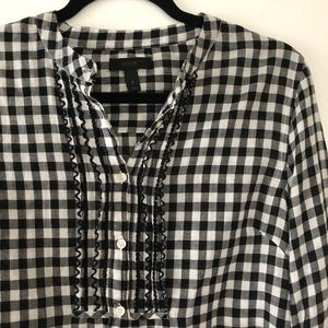 J. Crew Black and White Gingham Top
